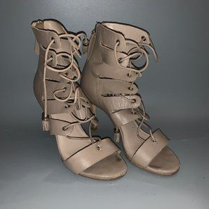 ZIMMERMANN Gray Leather Lace-up Booties